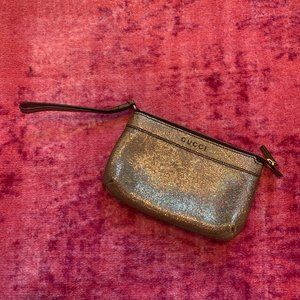 Gucci Metallic Crackled Leather Wristlet